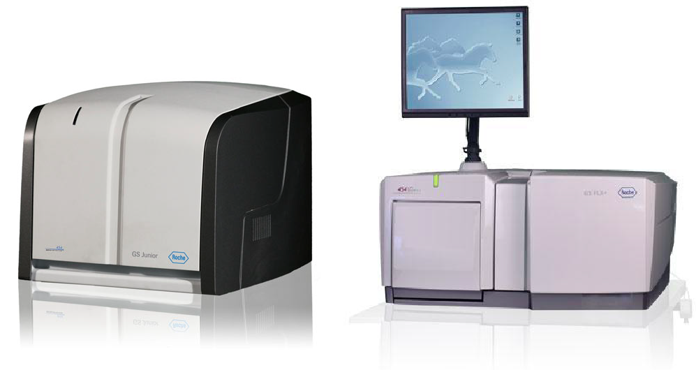 Two of Roche's DNA sequencing instruments.