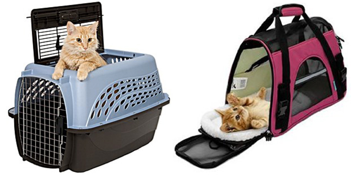 Hardsided carriers (left) and soft-sided carriers (right) for cats.
