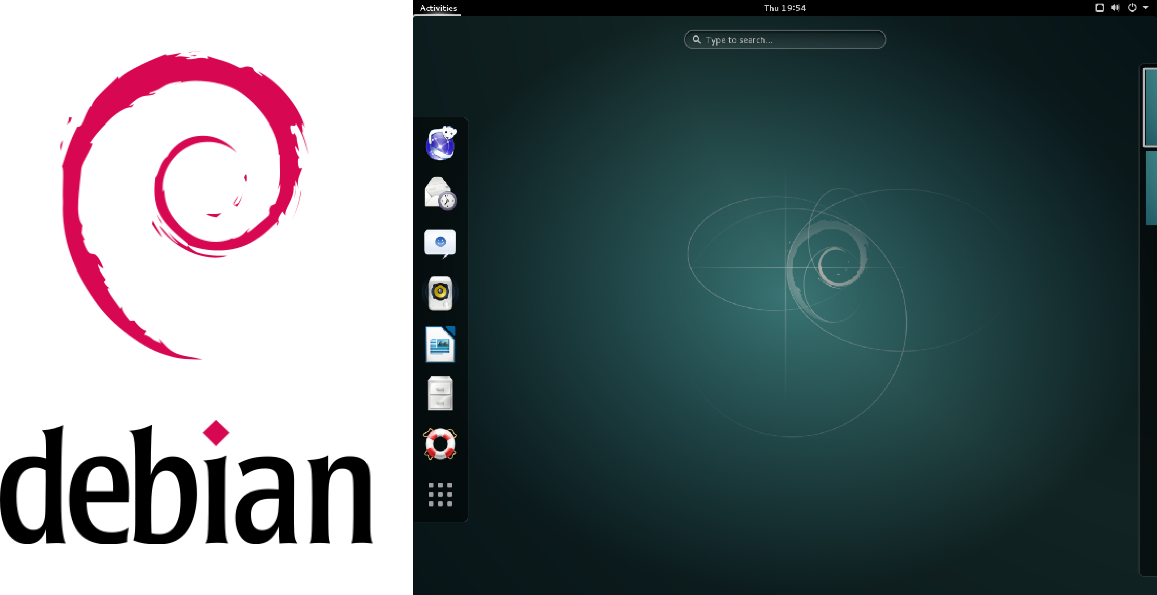 Debian logo and desktop.