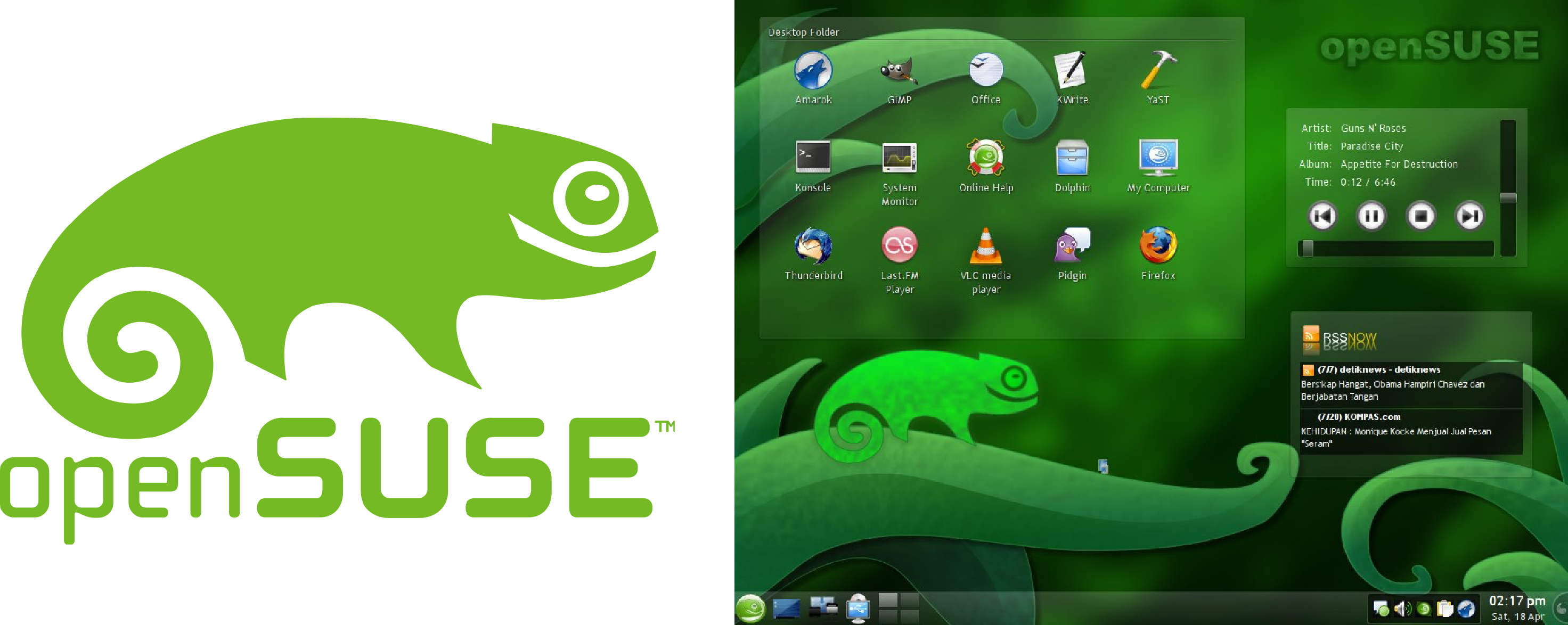 OpenSuSE logo and desktop.