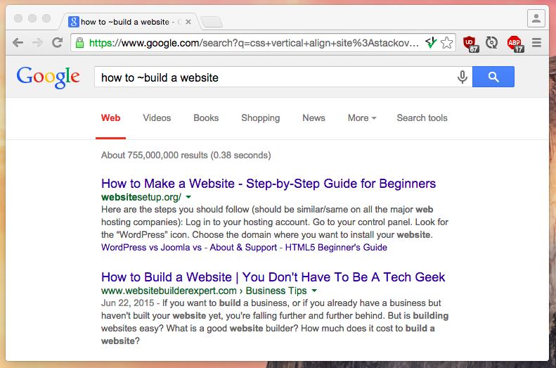 How to build a website google search query