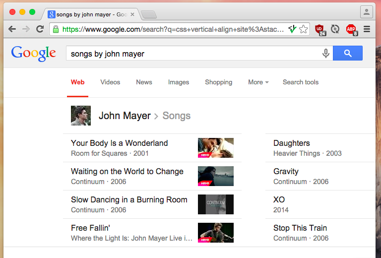 Check for songs by John Mayer with Google keyword search