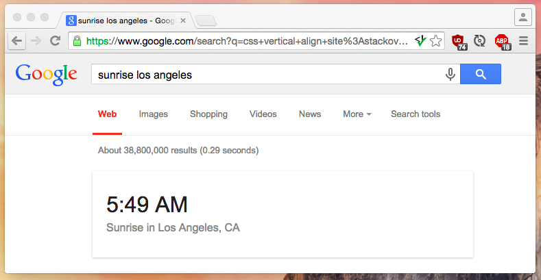 Checking the sunrise in LA with Google