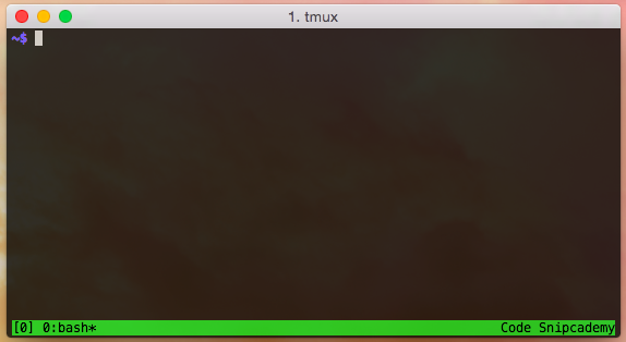 New tmux session with a green status bar at the bottom