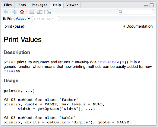 The print manual page as it appears in RStudio.