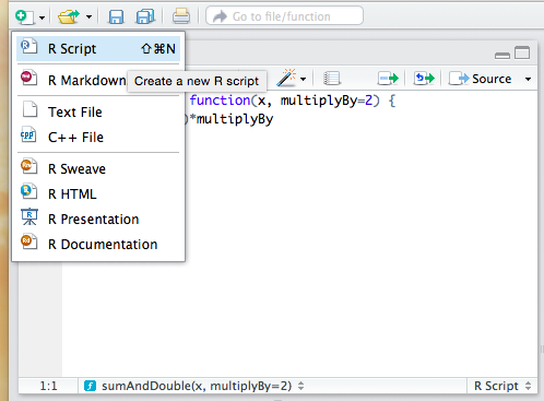 How to open a new R Script in RStudio.