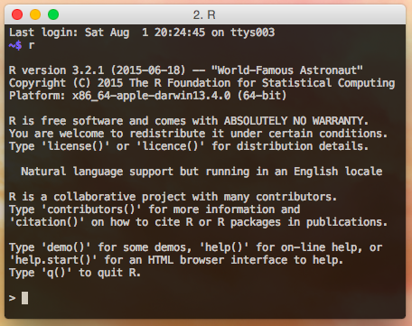 Starting up R on the OS X Terminal.