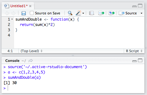 Writing up functions in the script panel of RStudio.